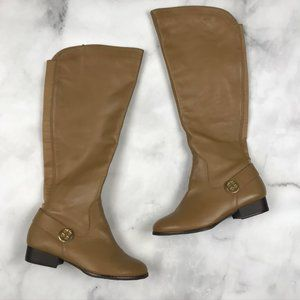 Iman Tall Leather Boots Low Heel Tan Gold Riding